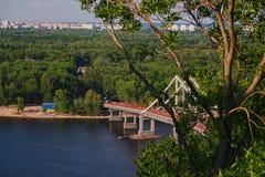 Pedestrian bridge in Kiev. Scenic view of the pedestrian bridge in Kiev Royalty Free Stock Photography