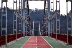 Pedestrian bridge, Kiev, Ukraine. Winter cityscape. royalty free stock image