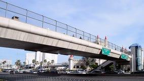 Pedestrian bridge, Las Vegas Strip in Las Vegas, Nevada, USA, stock footage