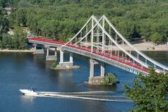 Free Pedestrian Bridge Leading To The Trukhaniv Island In Kyiv, Ukraine Royalty Free Stock Photo - 211728955