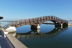 Pedestrian bridge in Lefkada, Greece stock photography