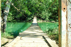 Pedestrian Bridge. Bridge located in San Ignacio Belize, used for foot traffic access across the river during dry season Royalty Free Stock Image