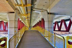 Pedestrian bridge in modern geometric design, Salzburg, Austria. Royalty Free Stock Photo