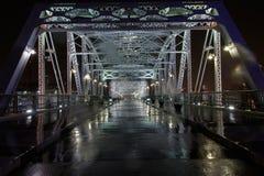 Pedestrian bridge Nashville. Rainy night on the pedestrian bridge Stock Photos