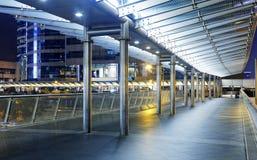 Pedestrian bridge at night Royalty Free Stock Photography