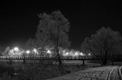 Pedestrian bridge at night. Suzdal, Russia. Stock Photo