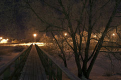 Pedestrian bridge at night. Suzdal, Russia. Royalty Free Stock Image