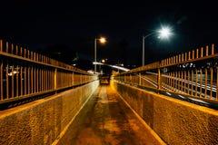 Pedestrian bridge at night, in Ventura, California. Stock Photos