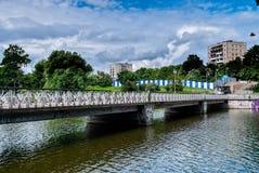 Pedestrian bridge on Nizhny pond. Kaliningrad Royalty Free Stock Photography