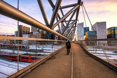 Pedestrian bridge in Oslo. Modern architecture in the Barcode district Oslo, Norway royalty free stock photography