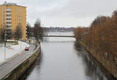 Pedestrian bridge in Oulu, Finland. Pedestrian bridge in Aptil in Oulu, Finland Royalty Free Stock Photography
