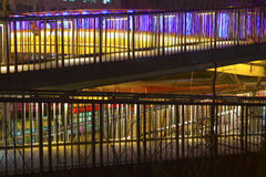 Pedestrian bridge. Over channel by night Stock Photos