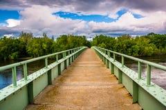A pedestrian bridge over the Delaware River in Portland, Pennsyl Stock Photo