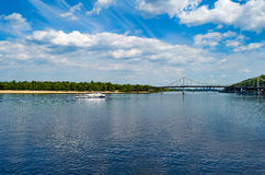 Pedestrian bridge over the Dnieper river. Beautiful view on Truk Royalty Free Stock Photos