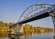 Pedestrian bridge over the Dnieper river. The bridge in Dnepropetrovsk Royalty Free Stock Images
