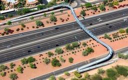 Pedestrian Bridge over freeway Stock Photos