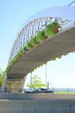 Pedestrian Bridge over Highway Stock Images
