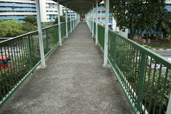 A pedestrian bridge over highway Royalty Free Stock Photography