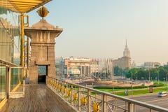 Pedestrian bridge over the highway at the Kazan station royalty free stock photos