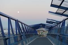 Pedestrian bridge over the highway in Orihuela Costa. Royalty Free Stock Photography