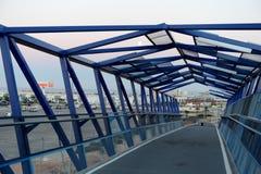 Pedestrian bridge over the highway in Orihuela Costa. Stock Photos