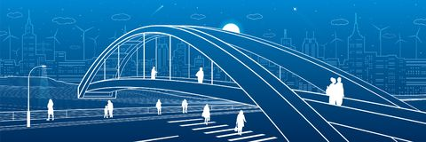 Pedestrian bridge over the highway. People walking on city street. Modern night town. Infrastructure illustration, urban scene. Wh. Ite lines on blue background stock illustration