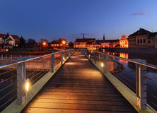 Pedestrian bridge over the Orda river in Wroclaw. Royalty Free Stock Image