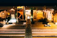 Pedestrian bridge over Pacific Coast Highway at night  Royalty Free Stock Photo