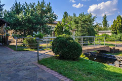 Pedestrian bridge over the pond in the city park. Summer landscape of the city park stock photo