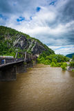 Pedestrian bridge over the Potomac River, seen in Harpers Ferry, Royalty Free Stock Photo
