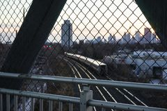 Pedestrian bridge over railway lines royalty free stock images