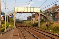Pedestrian Bridge over the railway Stock Photos