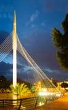 Pedestrian bridge over Segura  in night. Murcia Royalty Free Stock Photo