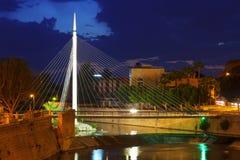 Pedestrian bridge over Segura river in night. Murcia Stock Photography