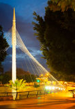 Pedestrian bridge over Segura river in night. Murcia Royalty Free Stock Image