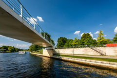 Pedestrian Bridge Over the Spree River in Berlin Royalty Free Stock Photos
