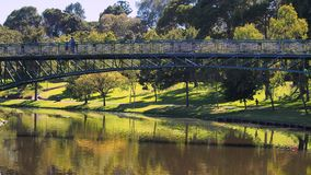 Pedestrian Bridge Over Torrens River, Adelaide Stock Photos