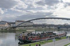 Pedestrian bridge over the vistula in krakow stock photo