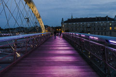 Pedestrian bridge over the vistula  in krakow Stock Photography