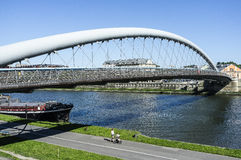 Pedestrian bridge over the vistula  in krakow Stock Photos