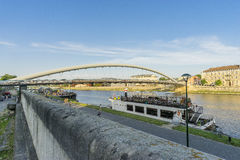 Pedestrian bridge over the vistula  in krakow Royalty Free Stock Images