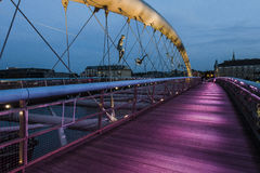 Pedestrian bridge over the vistula  in krakow Stock Photo