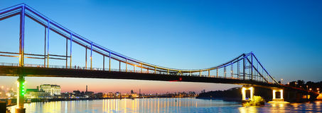 Pedestrian bridge panorama. Kiev, Ukraine Royalty Free Stock Images