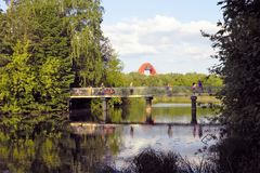 Pedestrian bridge in a Park Serebryany Bor. In Moscow, Russia Royalty Free Stock Photography