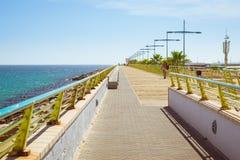 Pedestrian bridge-pier - way through Puerto deportivo Marina Sal Royalty Free Stock Photo