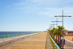 Pedestrian bridge-pier - way through Puerto deportivo Marina Sal Royalty Free Stock Photography