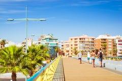 Pedestrian bridge-pier - way through Puerto deportivo Marina Salinas Stock Photos