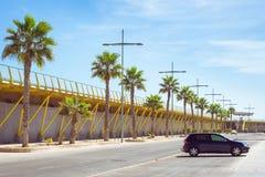 Pedestrian bridge-pier - way through Puerto deportivo Marina Salinas Stock Image
