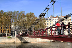 Pedestrian bridge on Quais de Saone Stock Photos