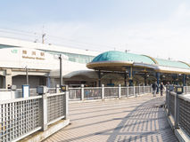 Pedestrian bridge at the railway station Royalty Free Stock Images